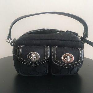 Coach Purse, Black. Classic Coach Exterior Pockets